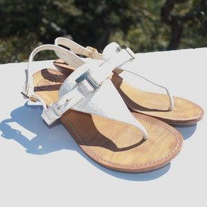 Tory Burch T Strap White Sandals Thongs Wedges 9.5